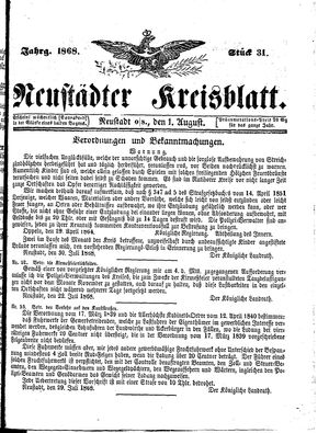 Neustädter Kreisblatt vom 01.08.1868