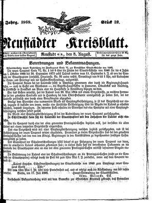 Neustädter Kreisblatt vom 08.08.1868