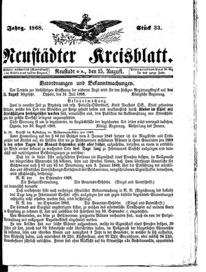 Neustädter Kreisblatt vom 15.08.1868