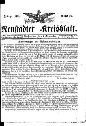 Neustädter Kreisblatt vom 05.09.1868