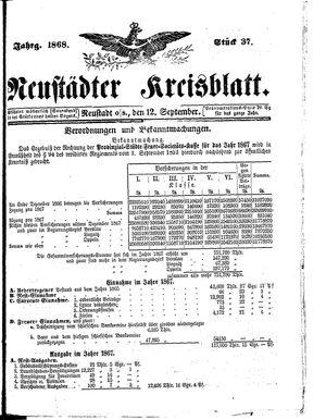 Neustädter Kreisblatt vom 12.09.1868