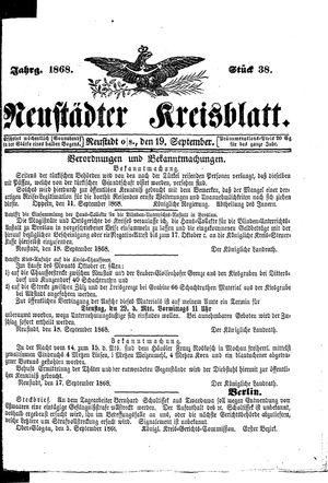 Neustädter Kreisblatt vom 19.09.1868