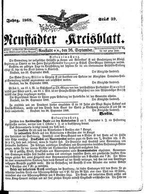 Neustädter Kreisblatt vom 26.09.1868
