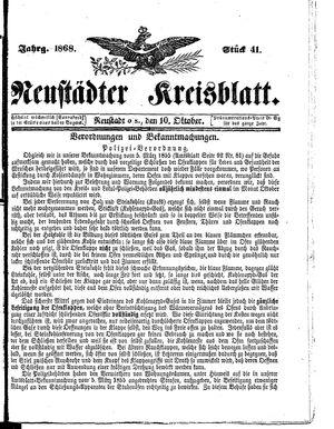 Neustädter Kreisblatt on Oct 10, 1868