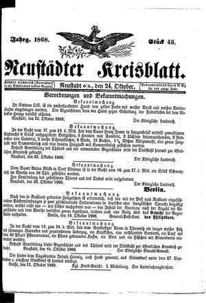 Neustädter Kreisblatt vom 24.10.1868