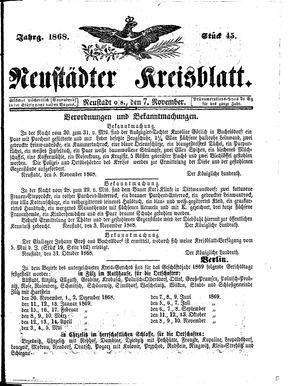 Neustädter Kreisblatt vom 07.11.1868