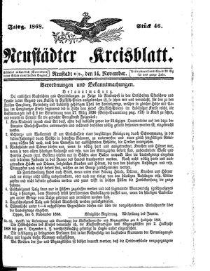 Neustädter Kreisblatt vom 14.11.1868