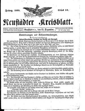 Neustädter Kreisblatt vom 12.12.1868