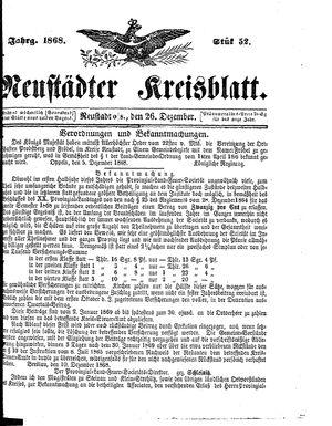 Neustädter Kreisblatt vom 26.12.1868