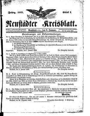 Neustädter Kreisblatt vom 09.01.1869