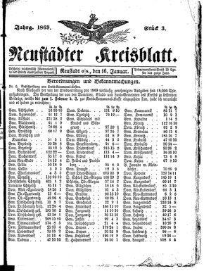 Neustädter Kreisblatt vom 16.01.1869