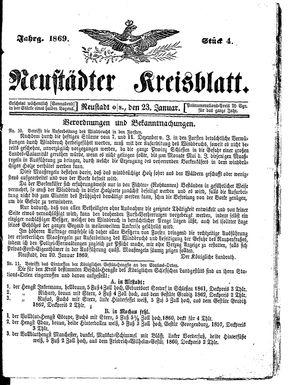 Neustädter Kreisblatt vom 23.01.1869