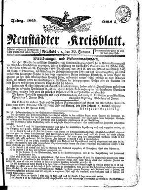 Neustädter Kreisblatt vom 30.01.1869