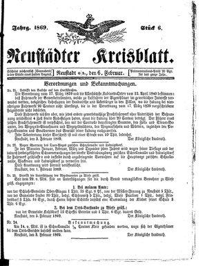 Neustädter Kreisblatt vom 06.02.1869