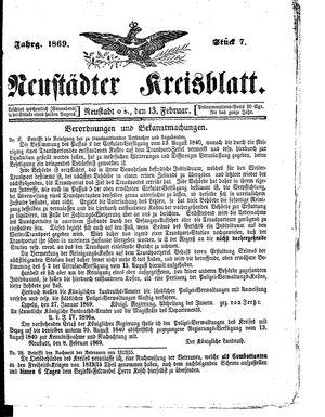 Neustädter Kreisblatt vom 13.02.1869