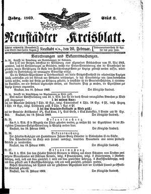 Neustädter Kreisblatt vom 20.02.1869