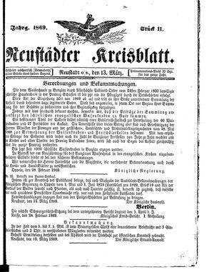 Neustädter Kreisblatt on Mar 13, 1869