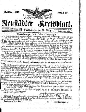 Neustädter Kreisblatt vom 20.03.1869