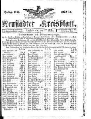 Neustädter Kreisblatt vom 27.03.1869