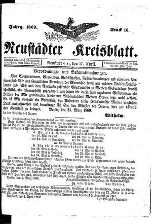 Neustädter Kreisblatt on Apr 17, 1869
