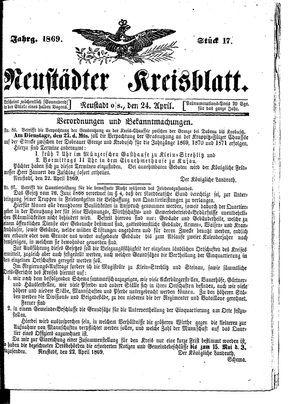 Neustädter Kreisblatt vom 24.04.1869