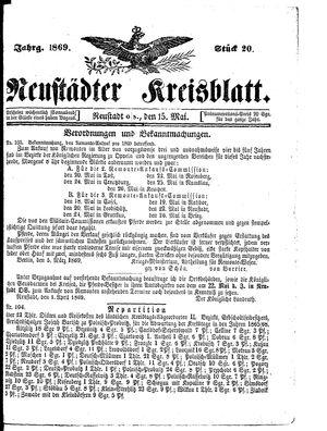 Neustädter Kreisblatt vom 15.05.1869