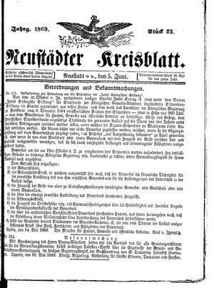 Neustädter Kreisblatt vom 05.06.1869