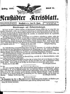 Neustädter Kreisblatt vom 19.06.1869