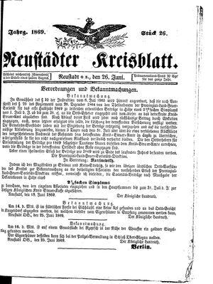 Neustädter Kreisblatt vom 26.06.1869