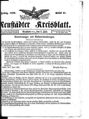 Neustädter Kreisblatt on Jul 3, 1869