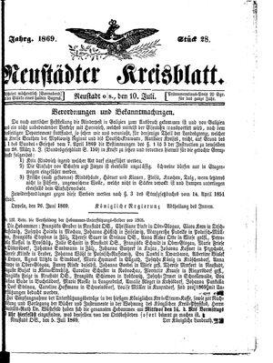 Neustädter Kreisblatt vom 10.07.1869
