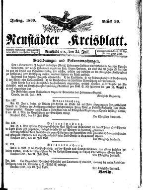 Neustädter Kreisblatt vom 24.07.1869