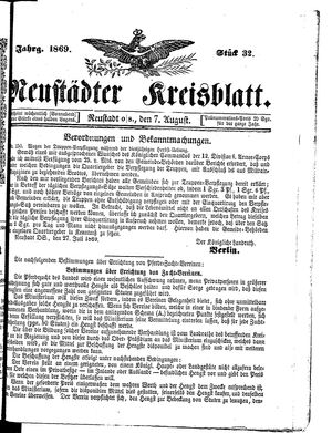 Neustädter Kreisblatt vom 07.08.1869