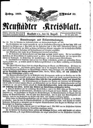 Neustädter Kreisblatt vom 14.08.1869