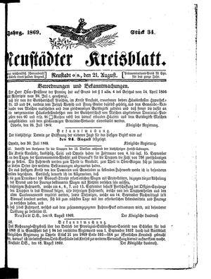 Neustädter Kreisblatt vom 21.08.1869
