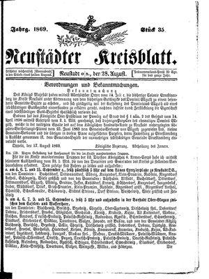 Neustädter Kreisblatt vom 28.08.1869