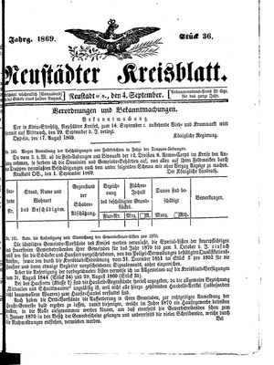 Neustädter Kreisblatt on Sep 4, 1869