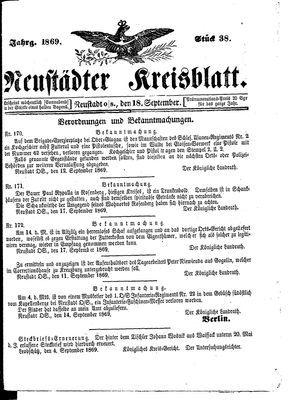 Neustädter Kreisblatt vom 18.09.1869