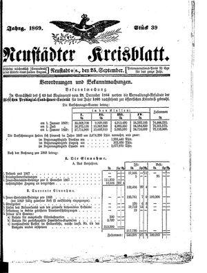 Neustädter Kreisblatt vom 25.09.1869