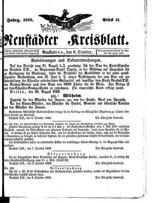 Neustädter Kreisblatt vom 09.10.1869