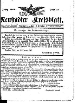 Neustädter Kreisblatt vom 16.10.1869