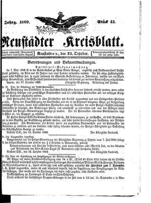 Neustädter Kreisblatt vom 23.10.1869