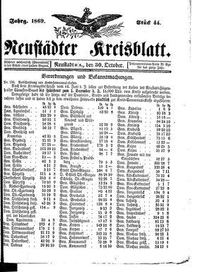 Neustädter Kreisblatt vom 30.10.1869