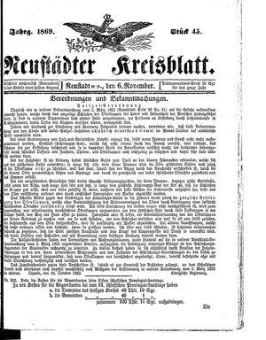 Neustädter Kreisblatt vom 06.11.1869