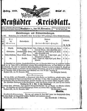 Neustädter Kreisblatt vom 20.11.1869