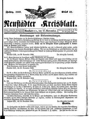 Neustädter Kreisblatt on Nov 27, 1869