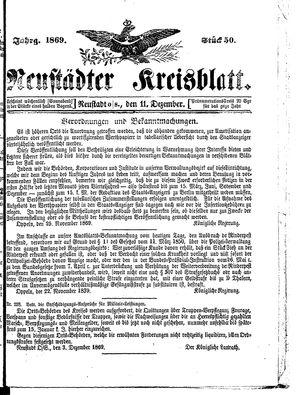 Neustädter Kreisblatt vom 11.12.1869