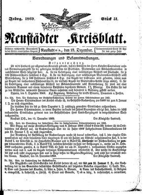Neustädter Kreisblatt vom 18.12.1869