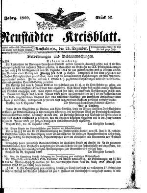 Neustädter Kreisblatt on Dec 24, 1869