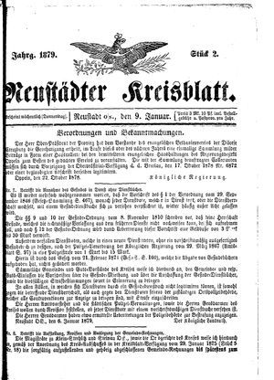 Neustädter Kreisblatt vom 09.01.1879